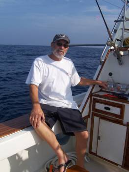Mainland Mexico--Bob Woodard at the cockpit controls of his Christina Lynn provides valuable assistance in helping battle a hooked billfish. Believe me in the heat and humidity off mainland Mexico an angler needs all the help he or she can get. January, 2007