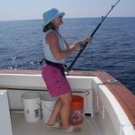 Dee Van Horne of One Four Three working on a sailfish between Papanoa and Acapulco aboard Bob and Pat Woodard's Christina Lynn. The fish was eventually caught and released. January, 2007