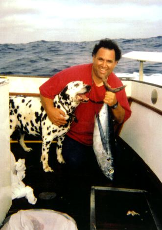 Bob Vanian and his fishing buddy Cooper