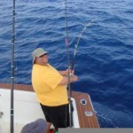 Bob Vanian is all smiles while fighting an estimated 150 pound black marlin on 20 lb. test between Ixtapa and Papanoa aboard Bob and Pat Woodard's boat Christina Lynn. January, 2007