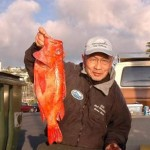 Harry Okuda of the Alfresco III with a 6.44 pound red vermillion that was caught aboard the Holiday out of Point Loma Sportfishing on a 1.5 day trip to Punta Colnett on February 24, 2007