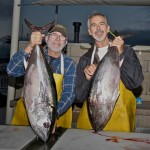 Private boaters Captain Bob Woodard (left ) of the Christina Lynn with Robb Lane of the AJ (right) and a couple of nice bluefin tuna caught on May 28, 2015